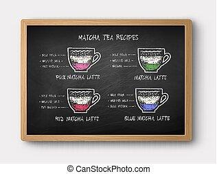 Chalk drawn Matcha tea recipes - Vector illustration of ...