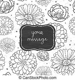 Chalk flowers blackboard frame seamless pattern background