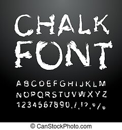 Chalk font. Alphabet written in white chalk. Letters with ice from chalk. Handwriting alphabet. Chalk texture letter