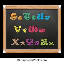 Chalk font on the school board.