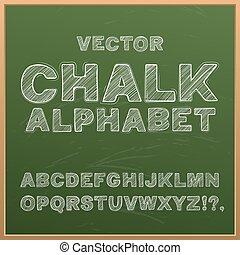 Chalk hand drawing alphabet, vector illustration.