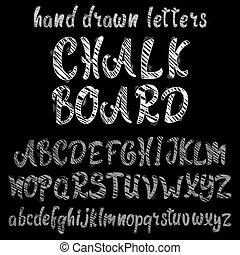 Chalk hand drawn alphabet, vector font.