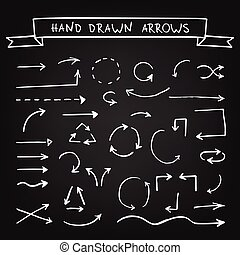 Chalk hand drawn arrows