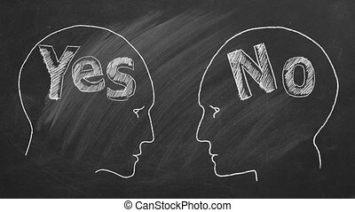 Relationship Crisis - Chalk illustration on blackboard. Two ...