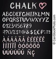 Chalk latin multilingual alphabet.