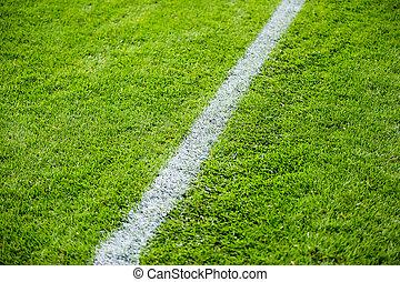 Chalk line on soccer field