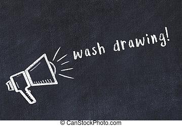 Chalk drawing of loudspeaker and handwritten inscription wash drawing on black desk