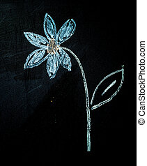 chalk paint - flower paint on a blackboard with colorful...