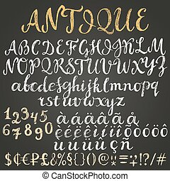 Chalk script latin alphabet containing uppercase, lowercase letters, numbers, special symbols, money signs and some diacritics.