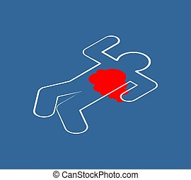 Chalk silhouette corpse. Crime scene. Chalk outline of dead body. Vector illustration.