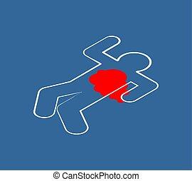 Chalk silhouette corpse. Crime scene. Chalk outline of dead body. Vector illustration.
