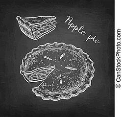 Chalk sketch of apple pie. - Apple pie. Chalk sketch on ...