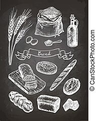 Chalk sketch of breads.
