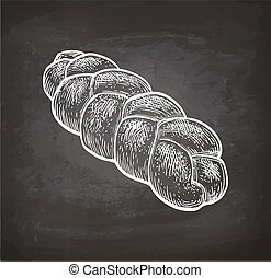 Chalk sketch of challah bread.