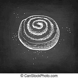 Cinnamon roll. Chalk sketch on blackboard background. Hand drawn vector illustration. Retro style.