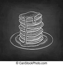 Pancakes with maple syrup. Chalk sketch on blackboard background. Hand drawn vector illustration. Retro style.