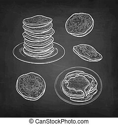 Pancakes set. Chalk sketch on blackboard background. Hand drawn vector illustration. Retro style.
