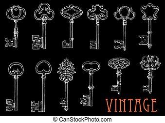 Chalk sketches of vintage keys on blackboard