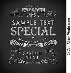 Chalk  typography, calligraphic design elements