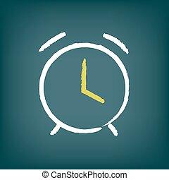 Chalk vector alarm clock illustration.