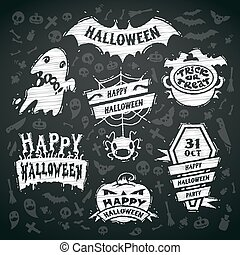 Chalk Vector Halloween Labels on Blackboard Background