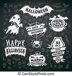 Chalk Vector Halloween Labels on Blackboard Background
