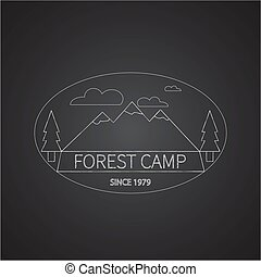 Chalk vintage adventure badge and outdoors logo emblem