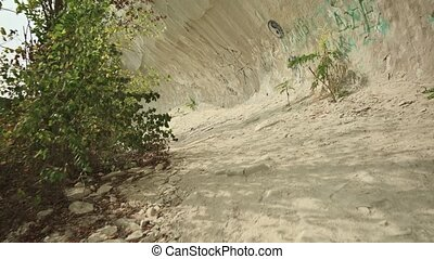 Chalk wall above Bechir's Gorge near Soroca, Moldova - ...