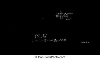 chalkb, vergelijkingen, verschijnen, wiskunde