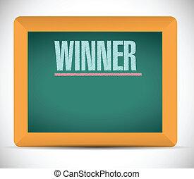 chalkboard., écrit, gagnant, mot, illustration
