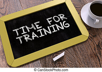 chalkboard., addestramento, scritto mano, tempo