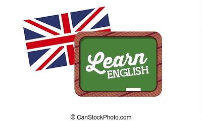 chalkboard and british flag learn english animation -...