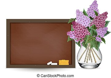 Chalkboard and lilac flowers