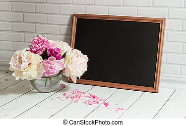 Chalkboard and peonies in vase - Beautiful bouquet of pink ...
