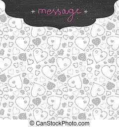 Chalkboard art hearts frame seamless pattern background -...