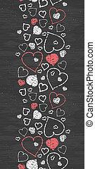 Chalkboard art hearts vertical border seamless pattern...
