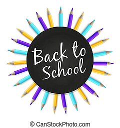 Chalkboard back to school vector banner with color pencils isolated on white background
