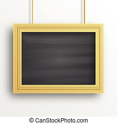 Chalkboard background with golden frame isolated on the...