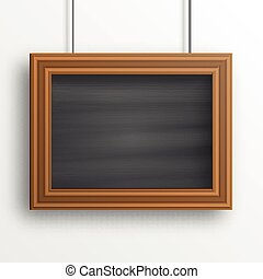 Chalkboard background with wooden frame isolated on the...