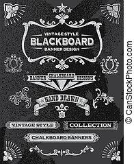 Chalkboard banner and ribbon set. Vintage retro chalkboard...