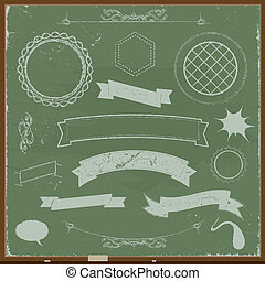 Chalkboard Banners And Design Elements - Illustration of a...