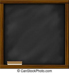 chalkboard, bord, met, frame, en, brush., chalkboard, textuur, lege, leeg, met, krijt, sporen, en, plein, houten, frame.