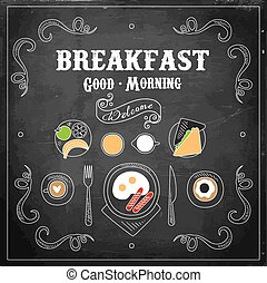 Chalkboard Breakfast Menu. Vector Illustration - Chalk on...