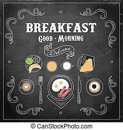 Chalkboard Breakfast Menu. Vector Illustration - Chalk on...