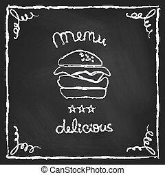 Chalkboard burger menu - Burger house poster on chalkboard. ...