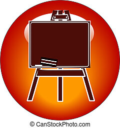 chalkboard button or icon - chalkboard on an easel icon or...