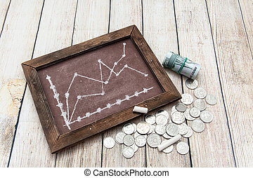 Chalkboard charts and Russian money. Business still-life