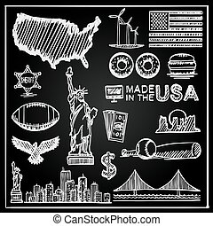 Chalkboard Collection of icons the United States, America sketch set, Usa sign, Vector illustration