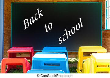 chalkboard, com, a, palavras, costas, para, school.