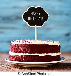 chalkboard, com, a, texto, feliz aniversário, em, um, bolo